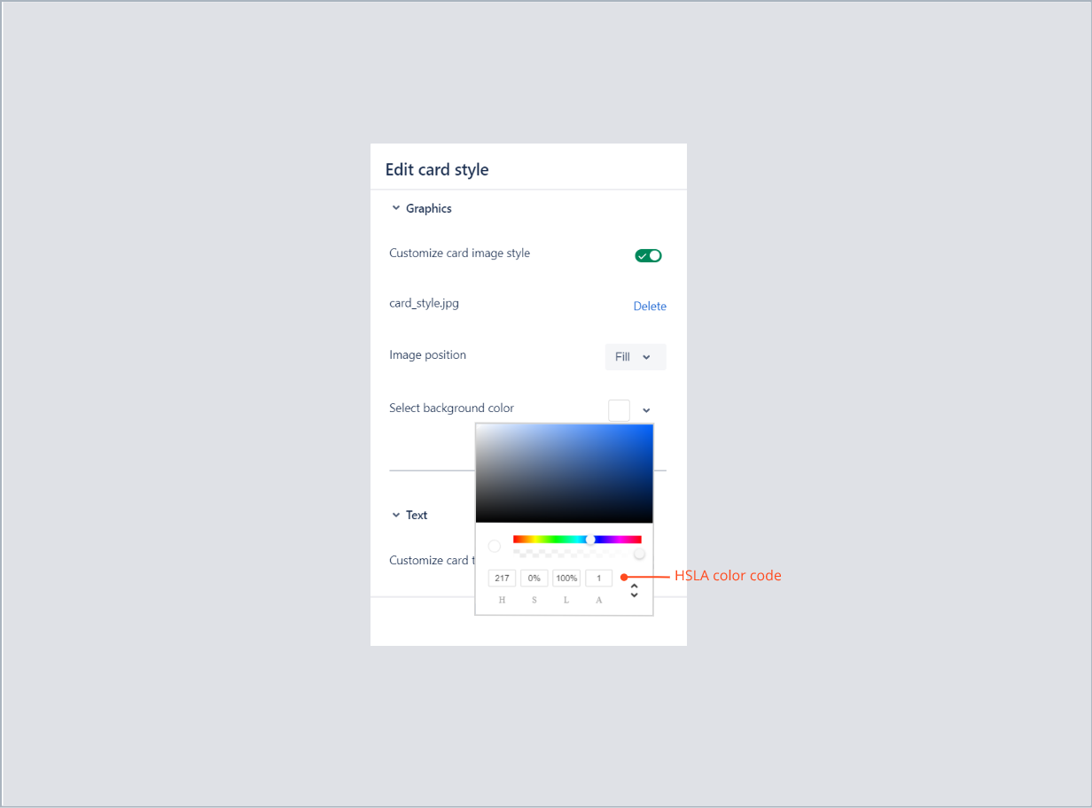 Entering the HSLA color code of card background with Theme Extension for Jira Service Desk