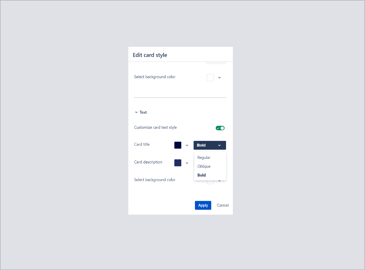 Choosing a font style of card title with Theme Extension for Jira Service Desk