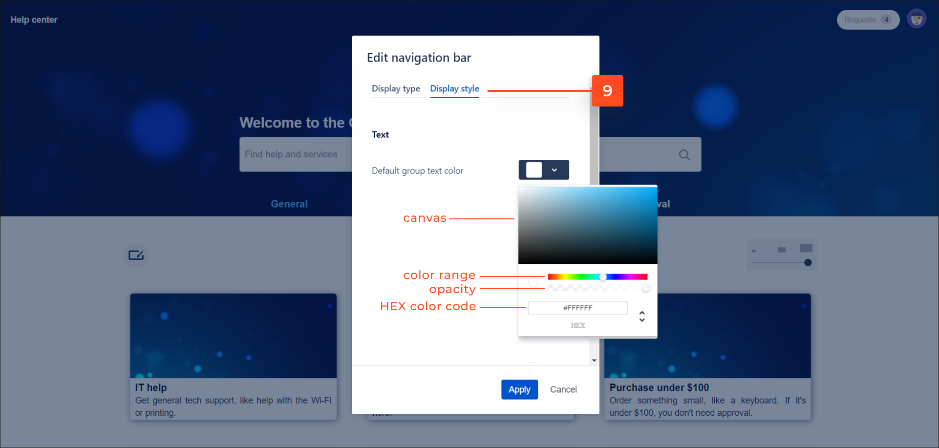 Enter the HEX color code of default group text with Theme Extension for Jira Service Desk