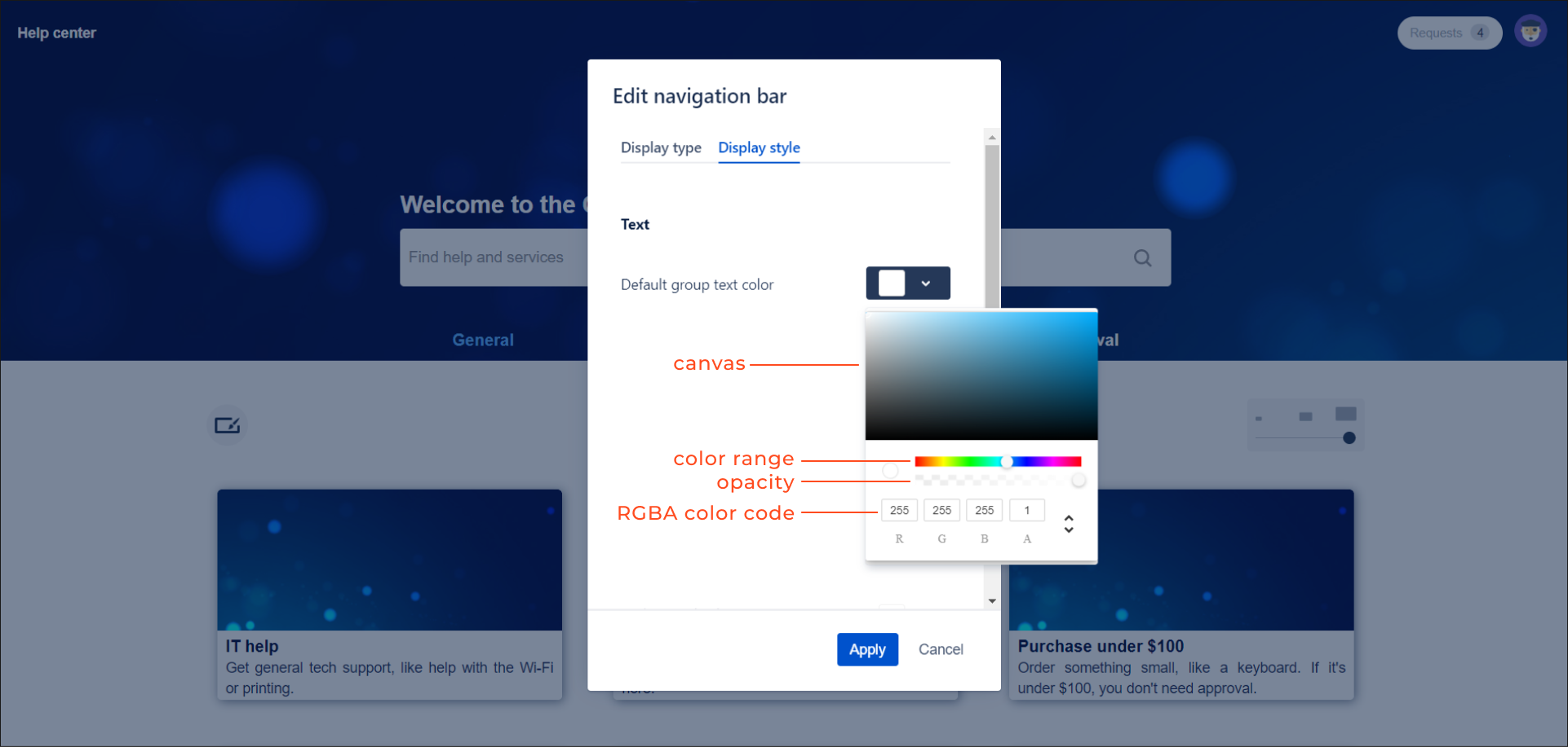 Enter the RGBA color code of default group text with Theme Extension for Jira Service Desk