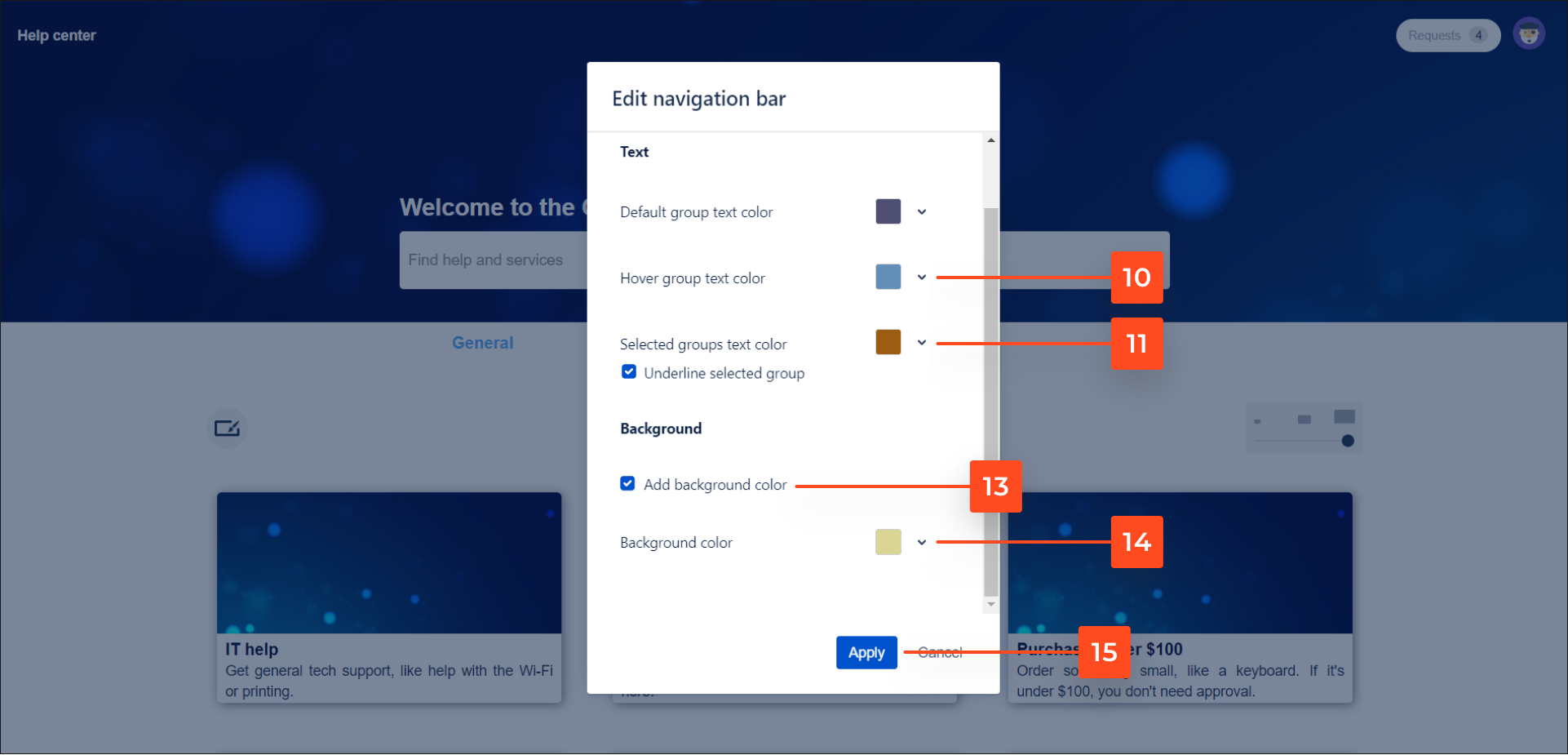 Apply a navigation bar with request types groups settings with Theme Extension for Jira Service Desk