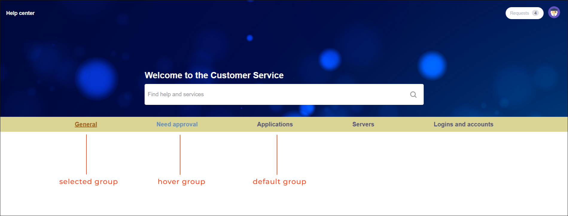 Example of displaying request types groups in tabs in navigation bar with request types groups settings with Theme Extension for Jira Service Management