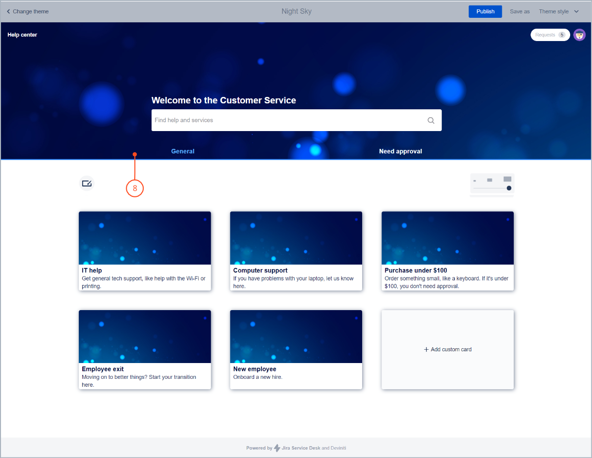 Editing a navigation bar with request types groups with Theme Extension for Jira Service Desk