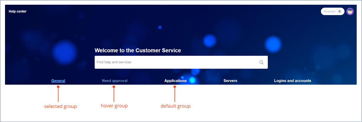 Example of displaying request types groups in tabs in navigation bar with request types groups settings with Theme Extension for Jira Service Desk