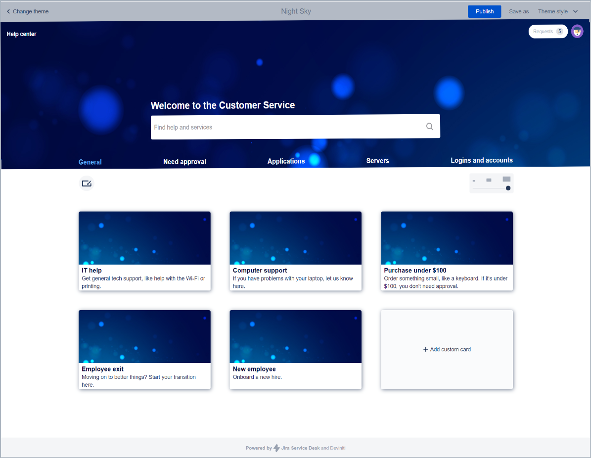 Now you can see changed theme style with Theme Extension for Jira Service Desk