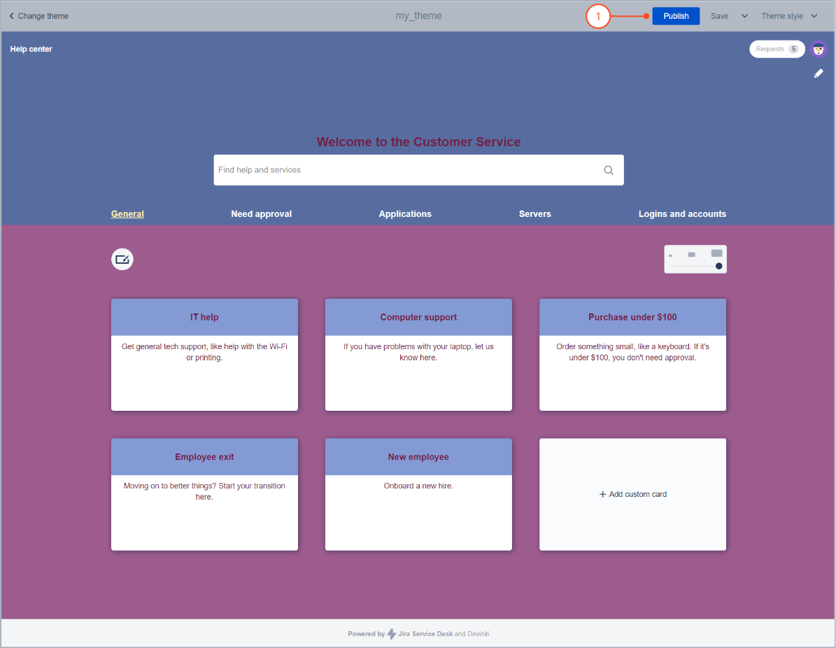 Publishing a theme style on the Customer Portal with Theme Extension for Jira Service Management