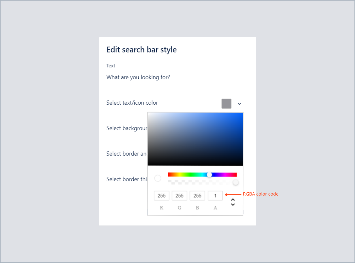 Entering the RGBA color code of text in search bar with Theme Extension for Jira Service Management