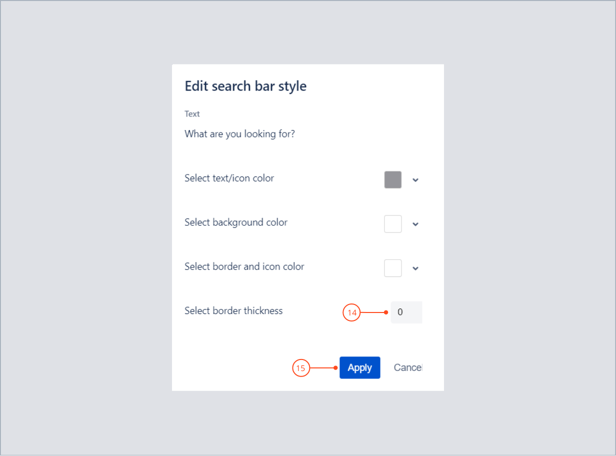 Selecting border thickness of search bar and applying settings with Theme Extension for Jira Service Management