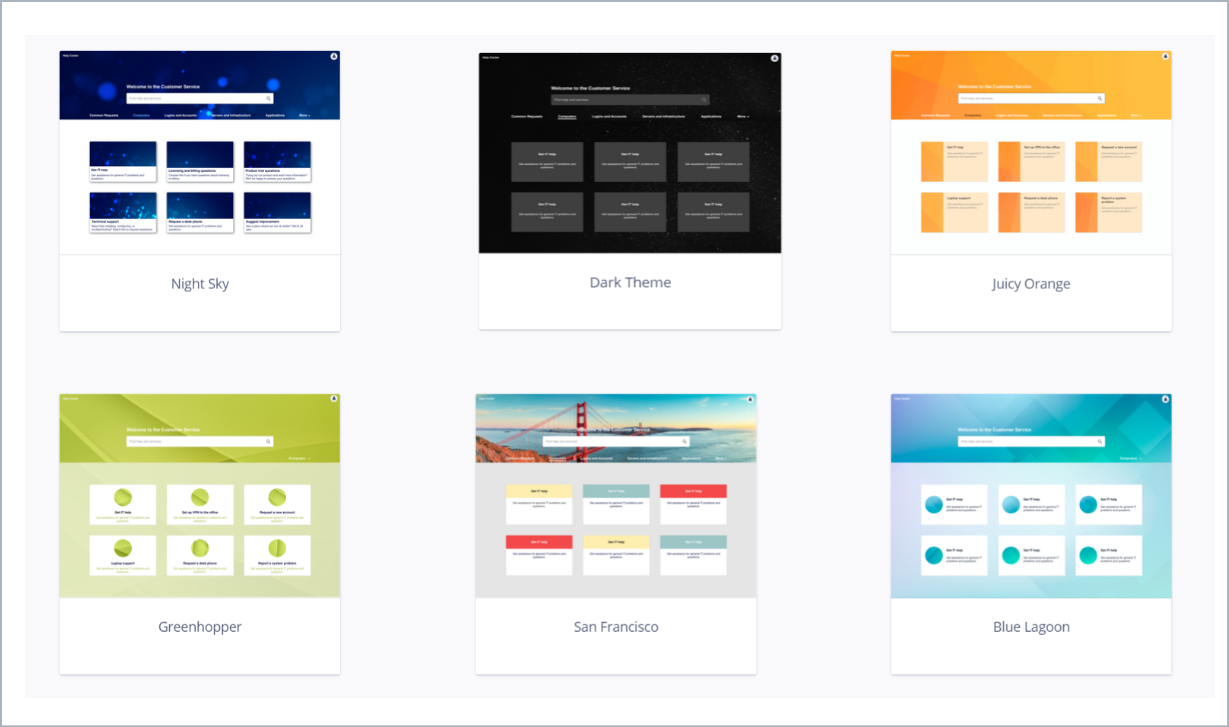 Examples of theme styles with Theme Extension for Jira Service Desk