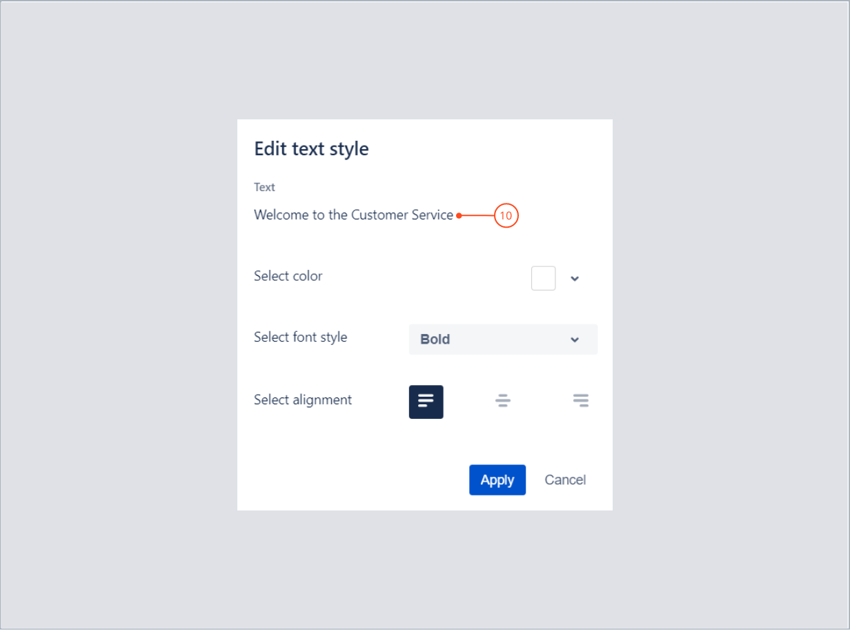 Editing a text content with Theme Extension for Jira Service Desk