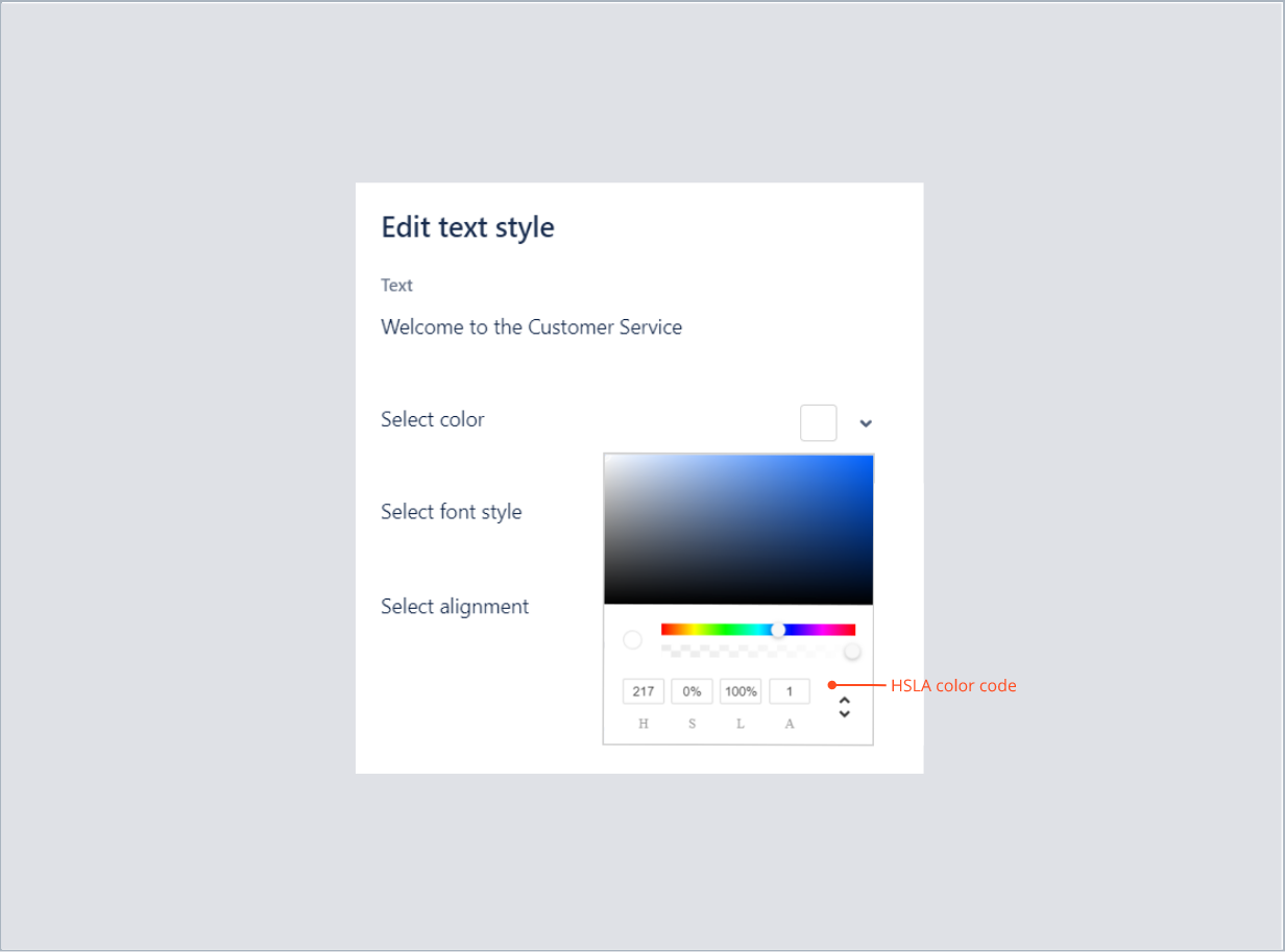 Entering the HSLA color code of welcome text with Theme Extension for Jira Service Desk