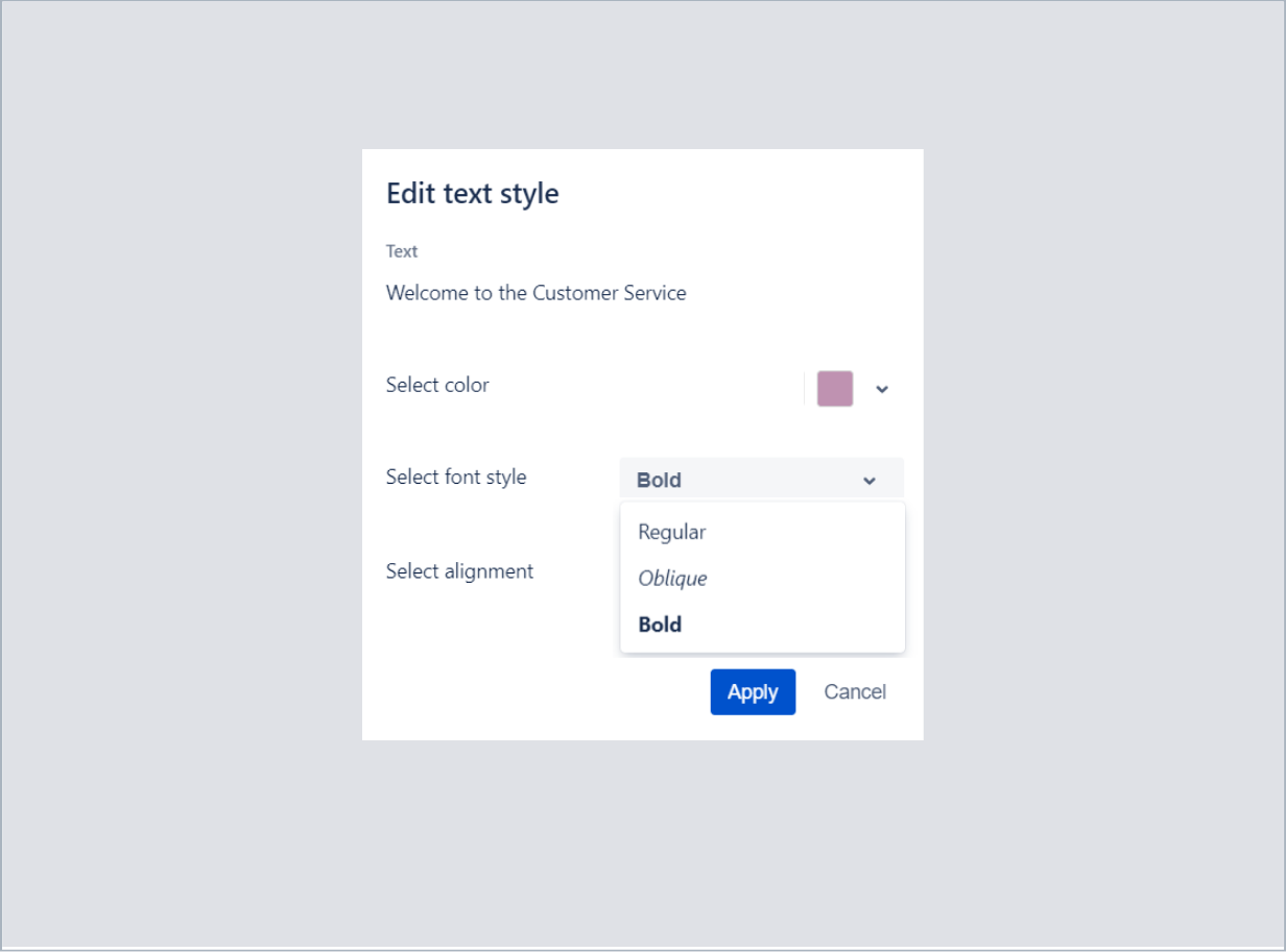 Choosing a font style of welcome text with Theme Extension for Jira Service Desk