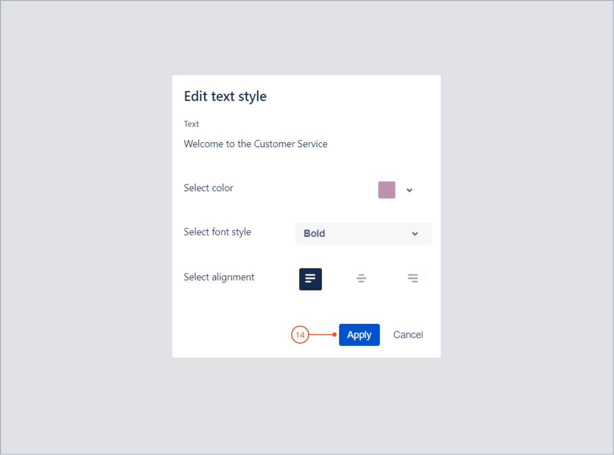 Applying welcome text style settings with Theme Extension for Jira Service Desk
