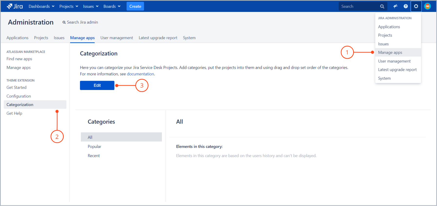 Go to edit your categories with Theme Extension for Jira Service Desk