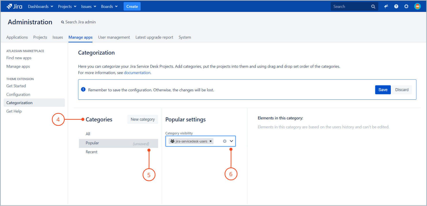 Edit your categories with Theme Extension for Jira Service Desk