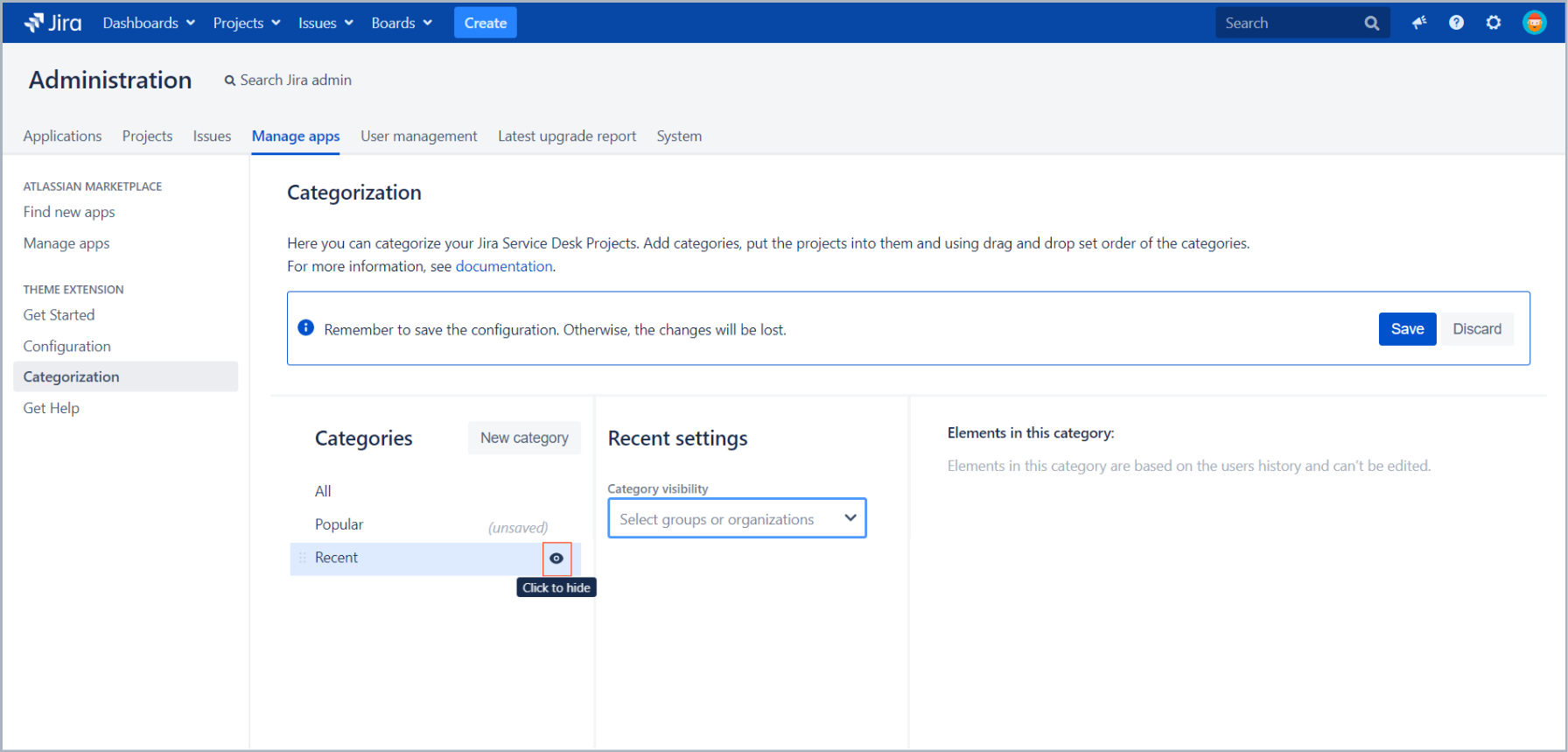Hide categories with Theme Extension for Jira Service Desk