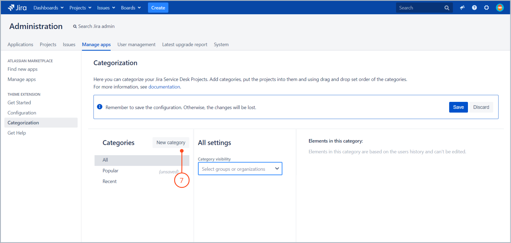 Click New category to create your own category with Theme Extension for Jira Service Desk