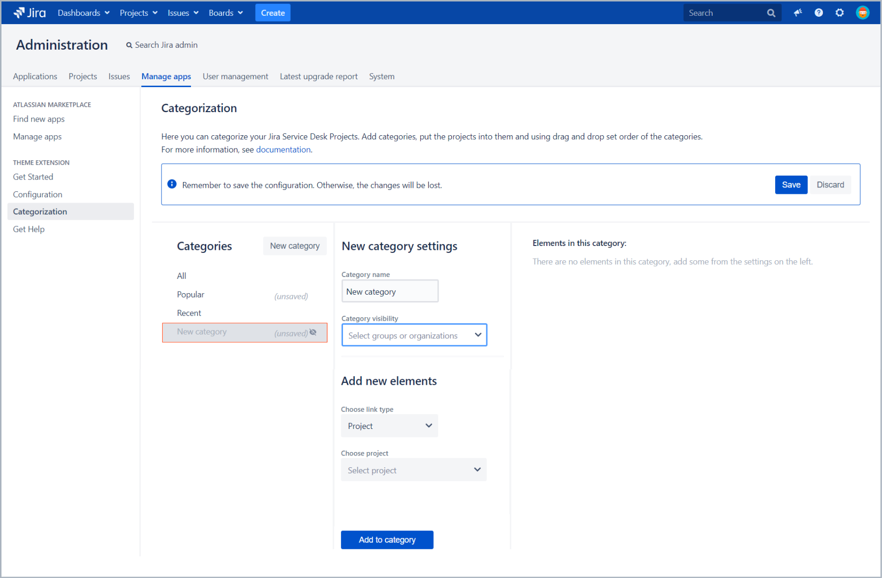 Create new category with Theme Extension for Jira Service Desk