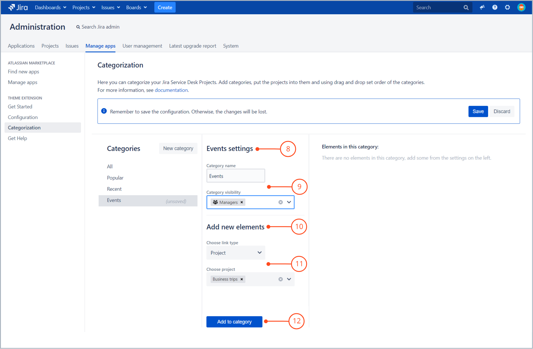 Add new category with Theme Extension for Jira Service Desk