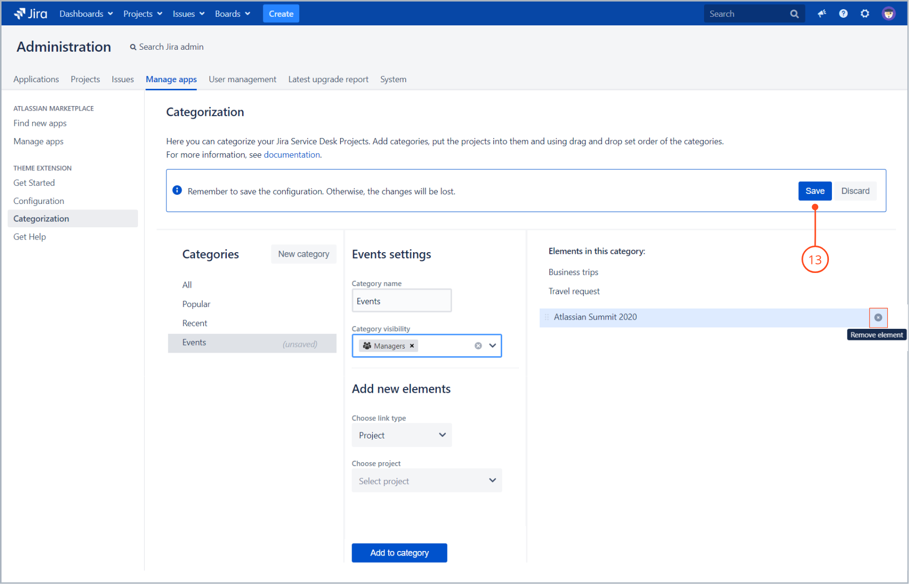Save category configuration with Theme Extension for Jira Service Desk
