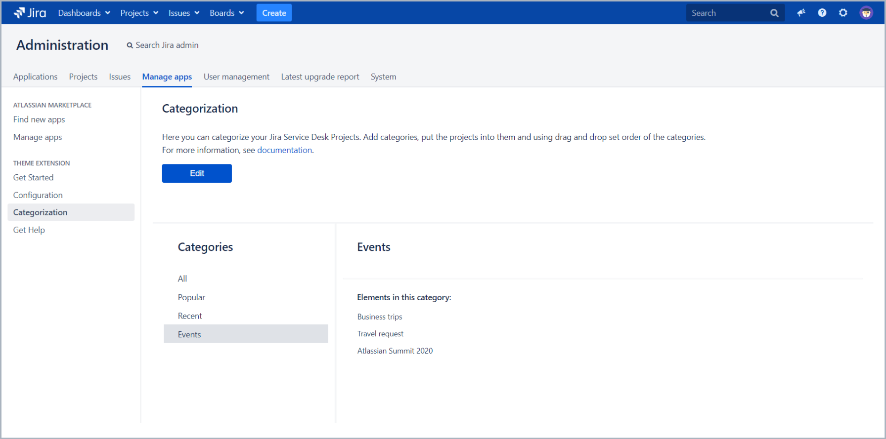 You can set categories configuration with Theme Extension for Jira Service Desk