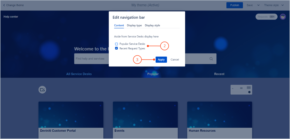 Edit navigation bar with Theme Extension for Jira Service Desk