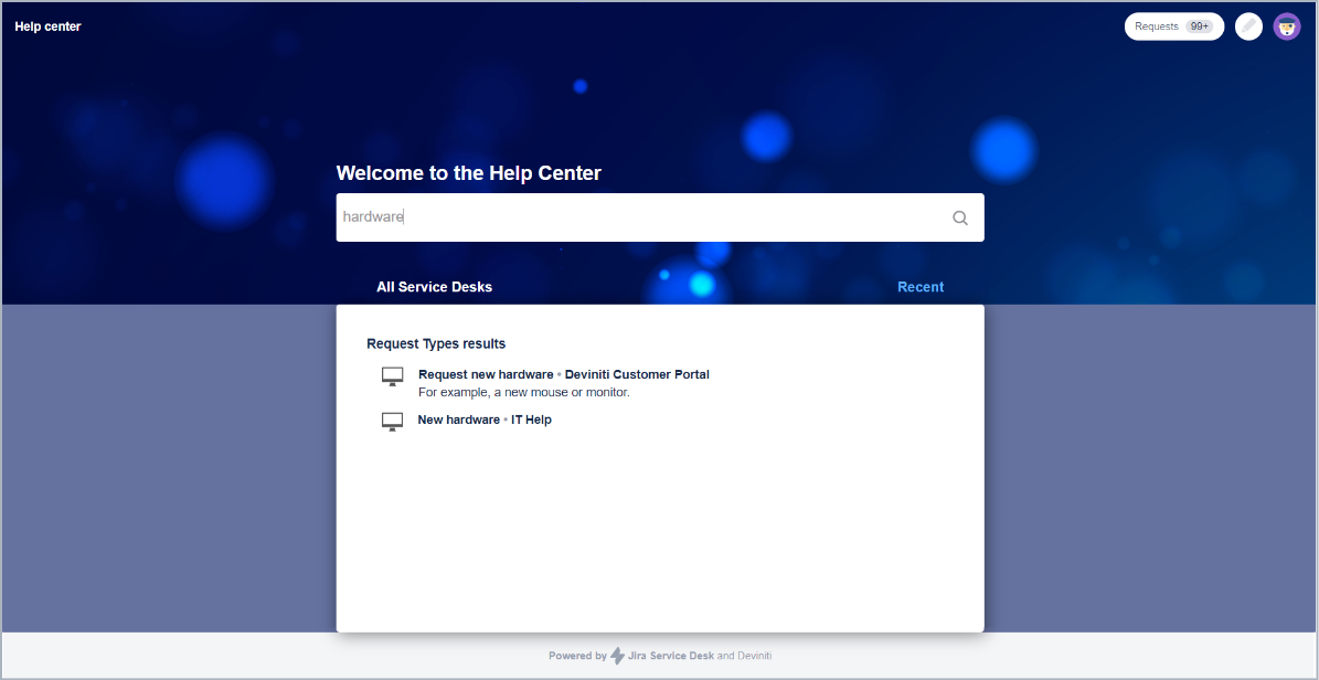 Request types are displayed as a list in the search results with Theme Extension for Jira Service Management