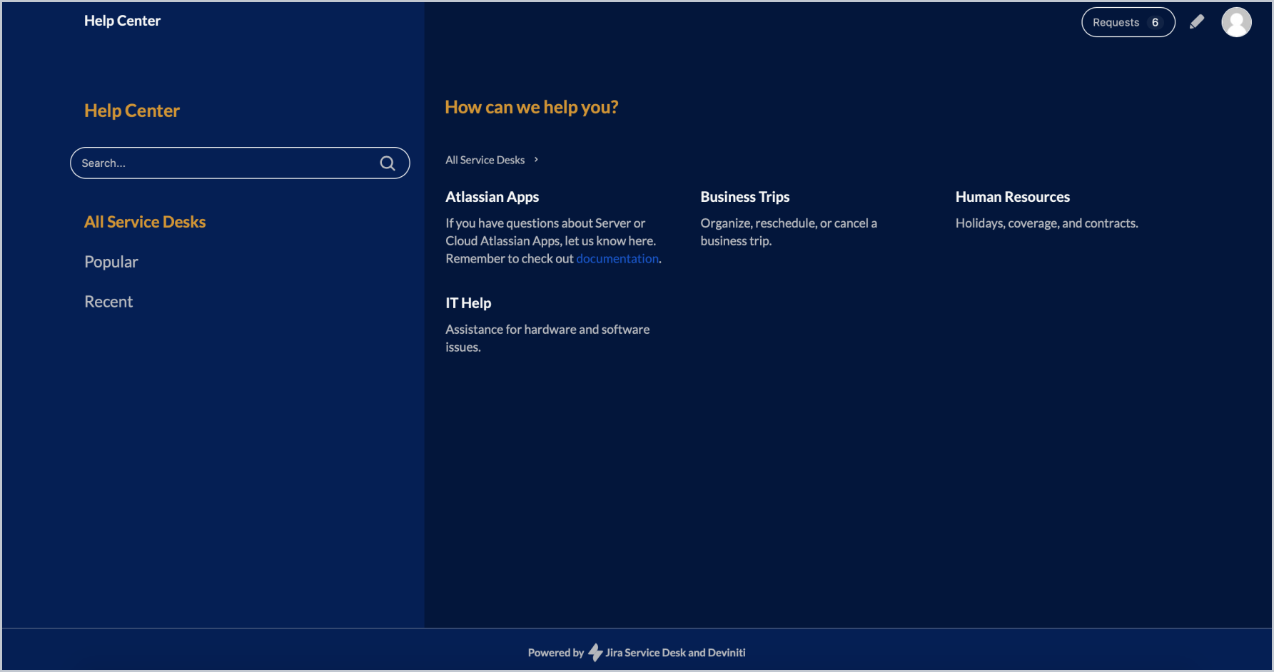 Portal Descriptions in a List Help Center