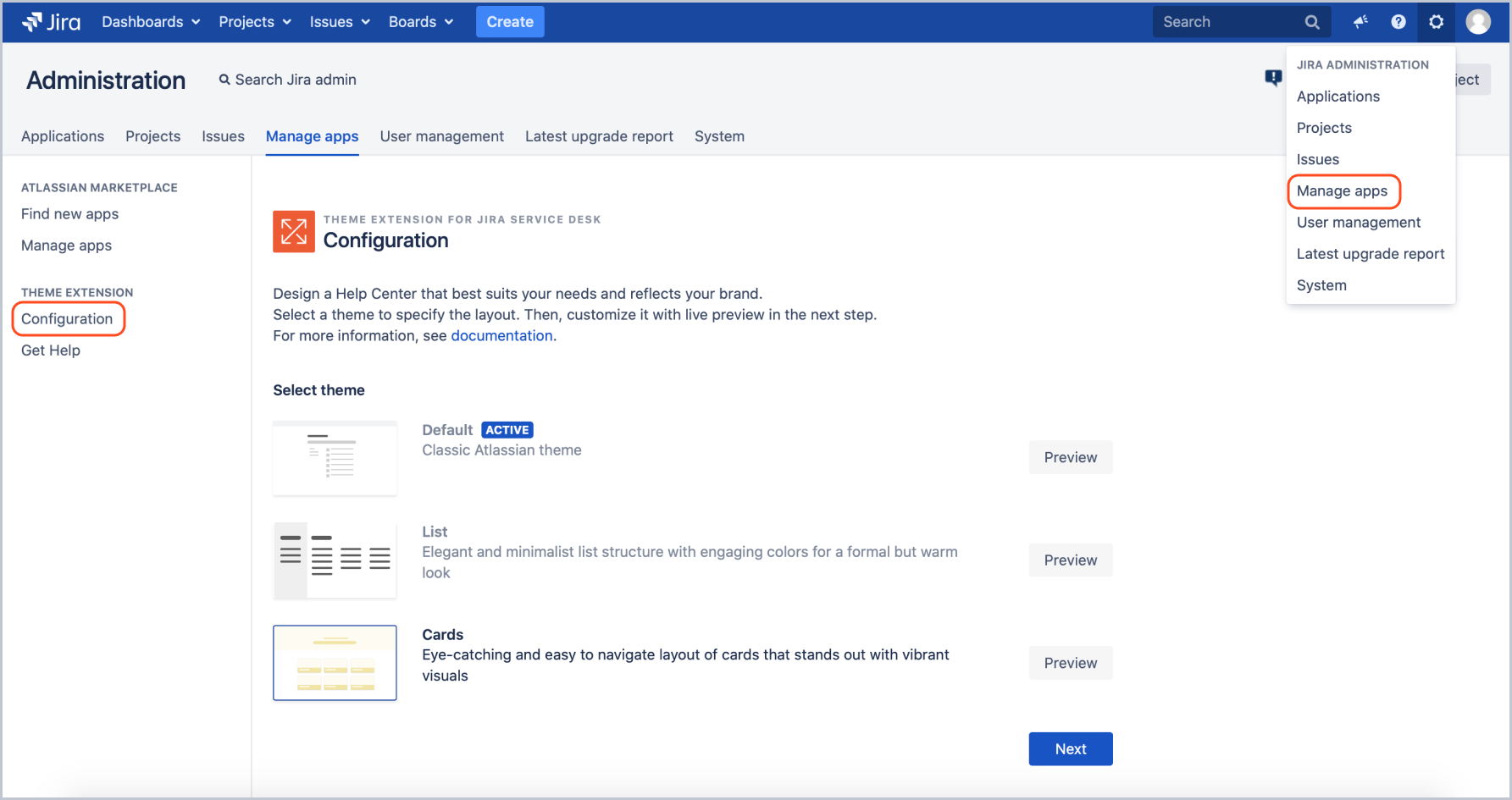 Create a theme configuration with Theme Extension for Jira Service Management