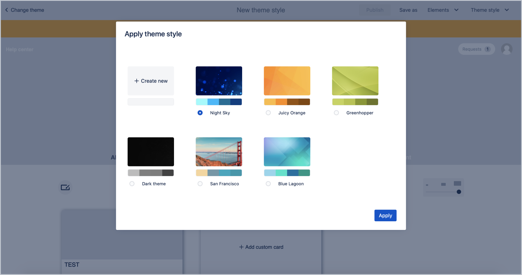 Select theme style with Theme Extension for Jira Service Desk