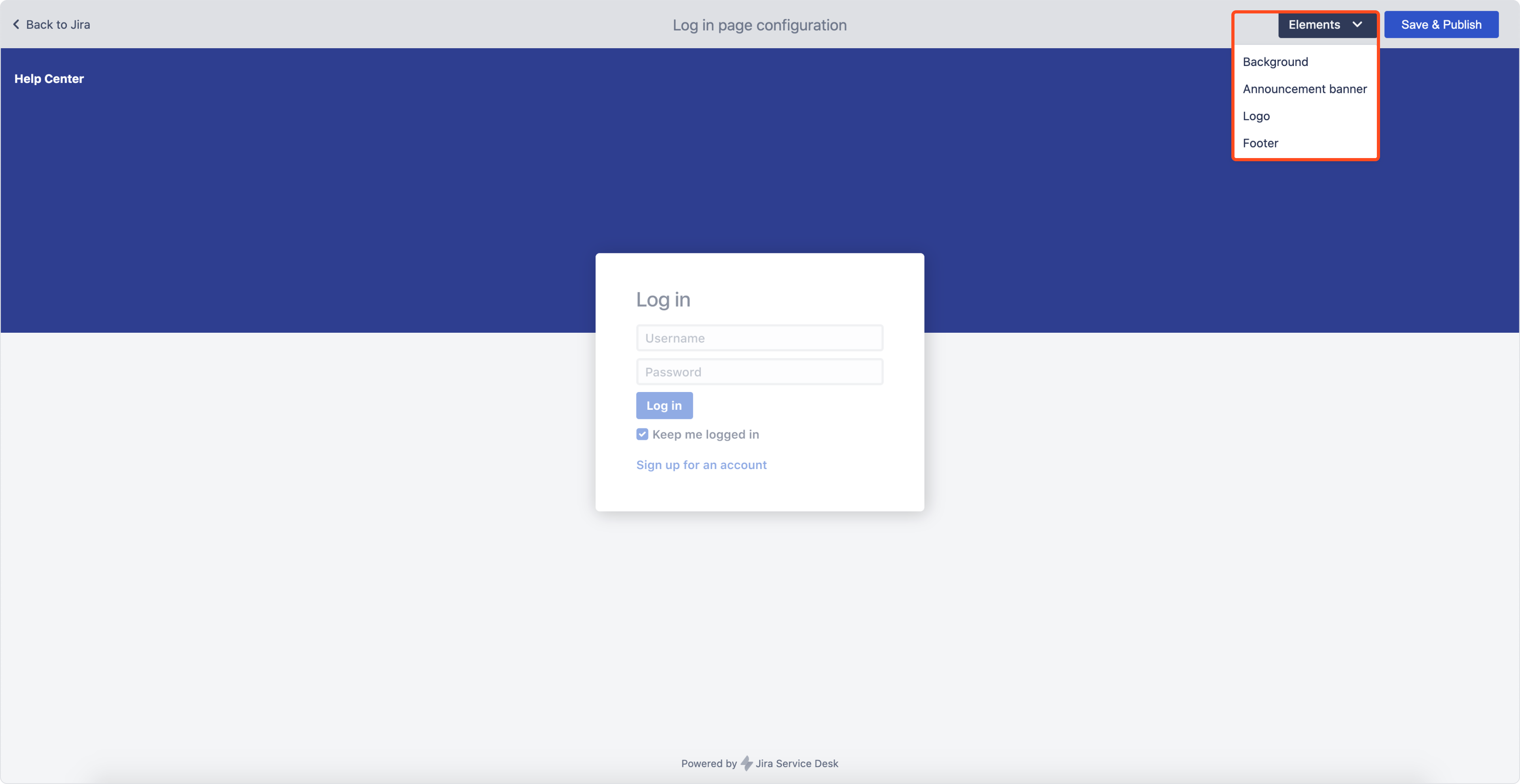 Login screen: Edit mode in Theme Extension for Jira Service Management