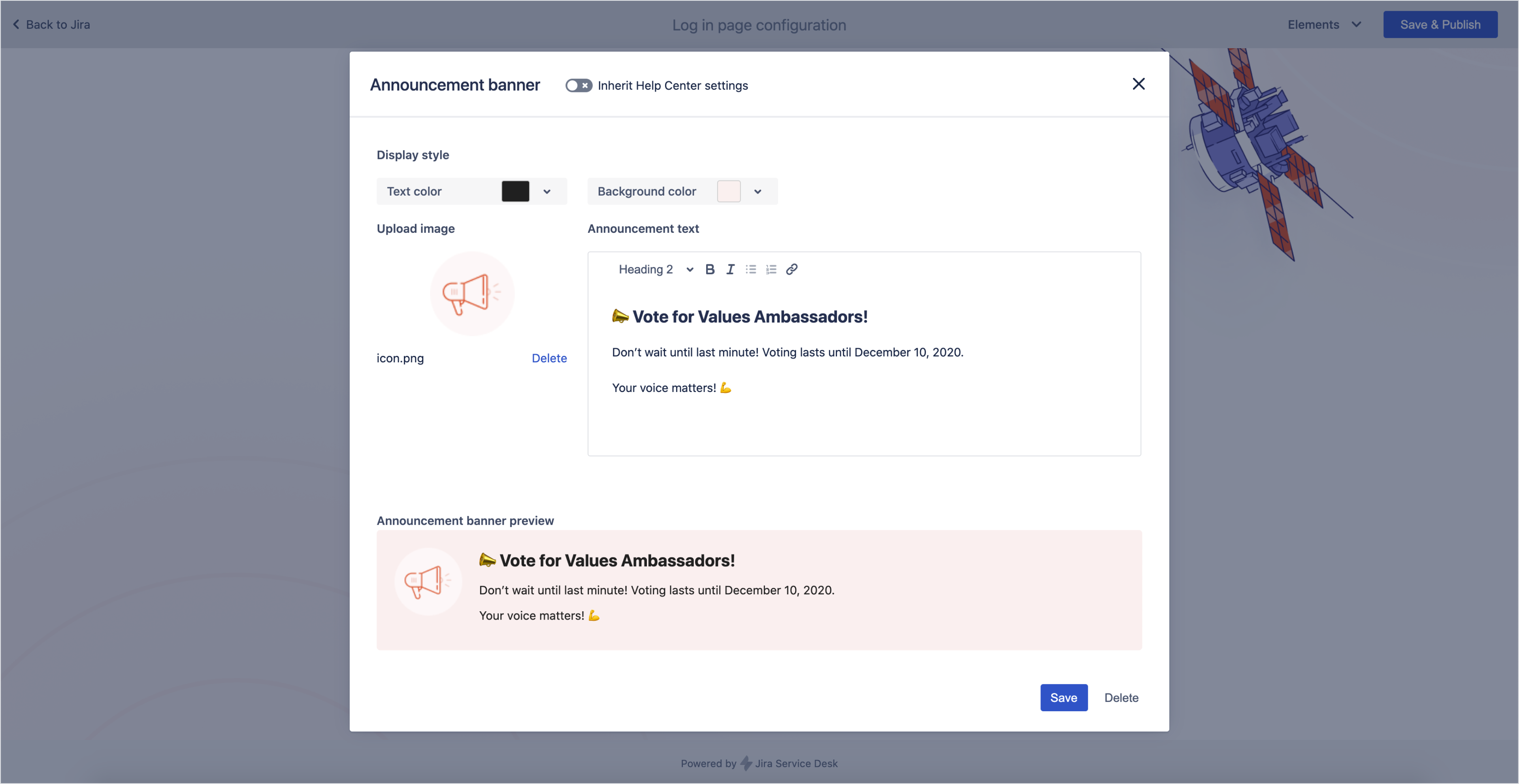 Login screen: Announcement banner settings in Theme Extension for Jira Service Management