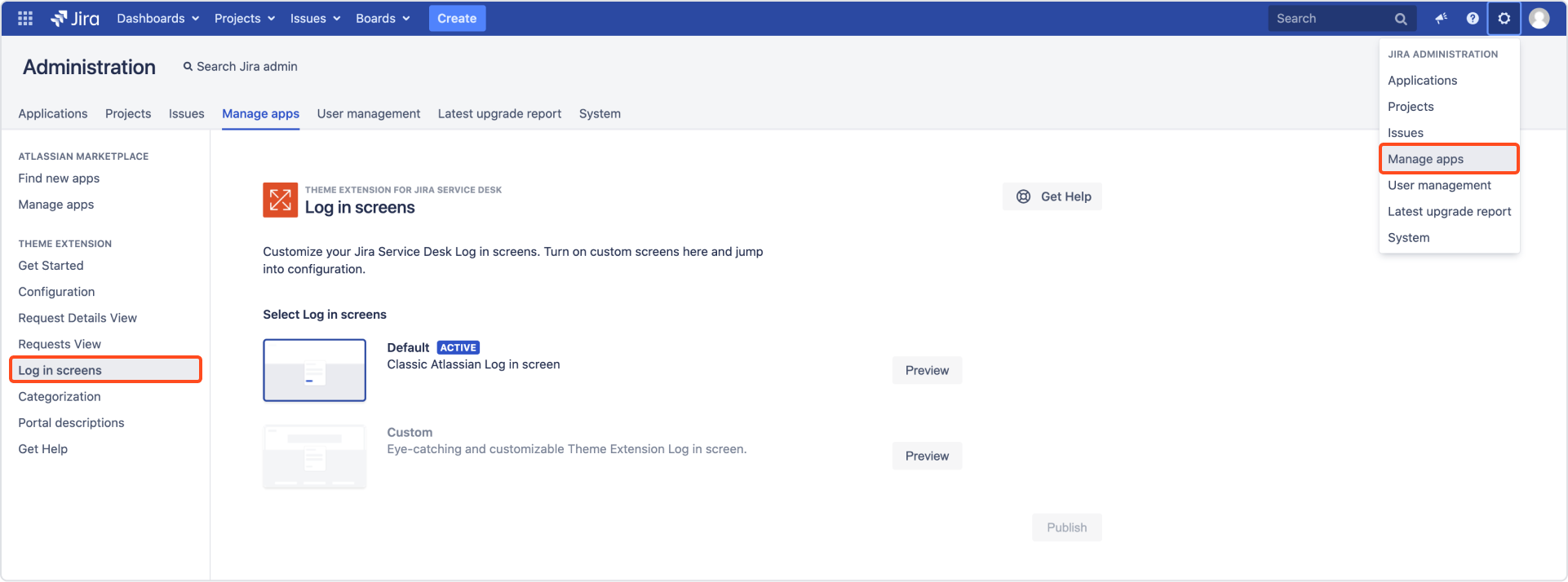 Login screen: global configuration in Theme Extension for Jira Service Management