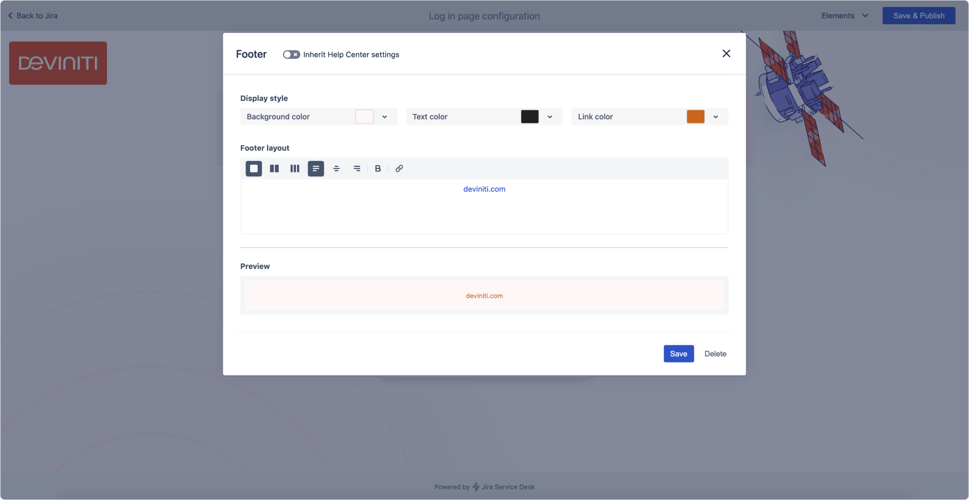 Login screen: Footer settings in Theme Extension for Jira Service Management