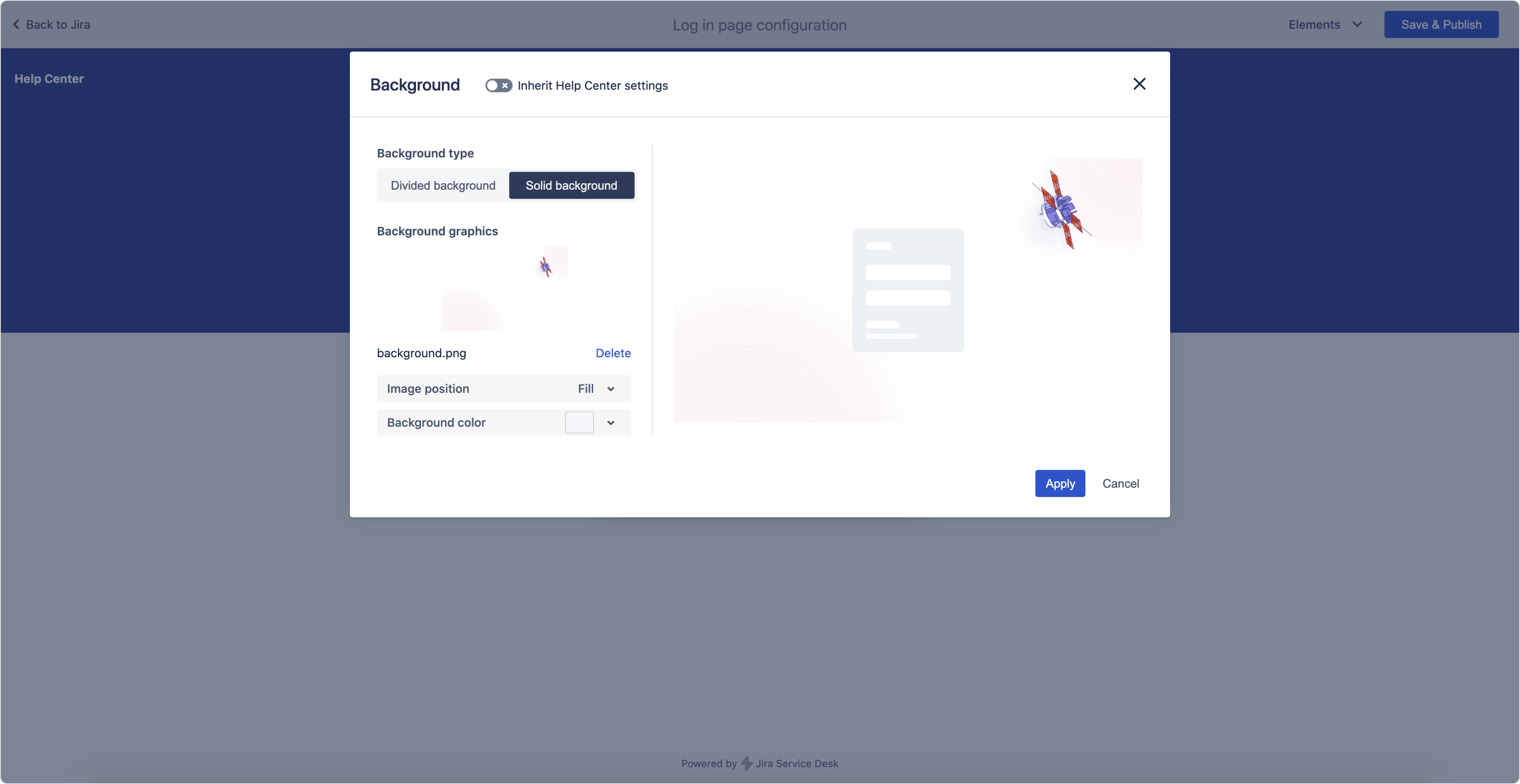 Login screen: Background settings in Theme Extension for Jira Service Management