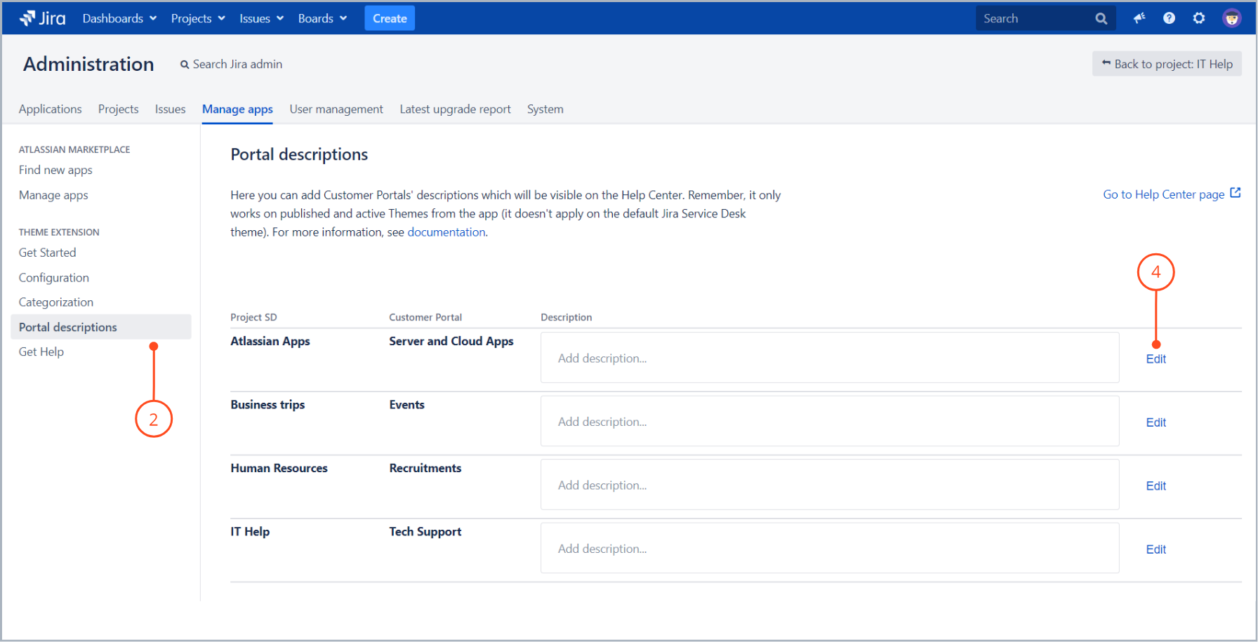 Click Edit at the right side and enter a portal description with Theme Extension for Jira Service Desk