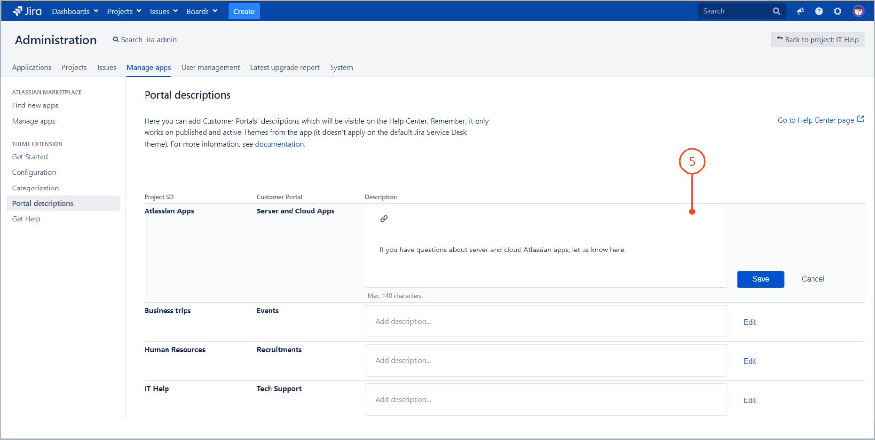 Enter a portal description with Theme Extension for Jira Service Desk