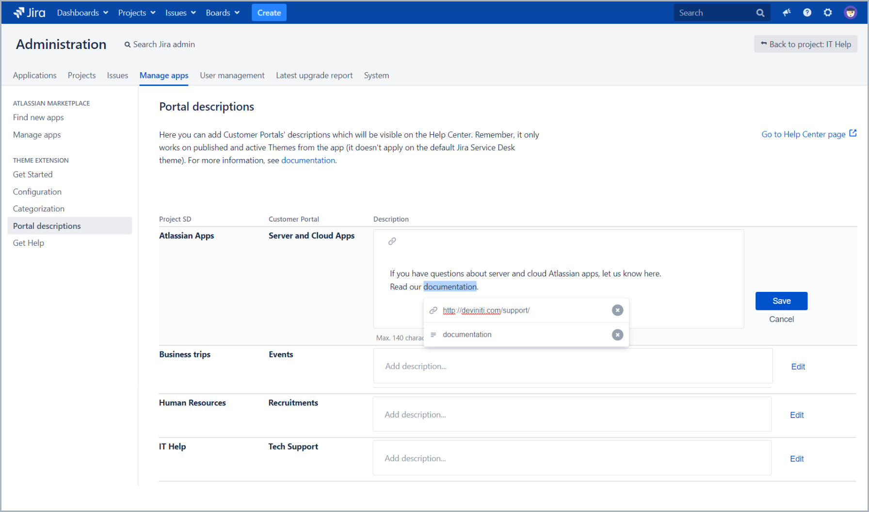 Add a link to portal description with Theme Extension for Jira Service Desk