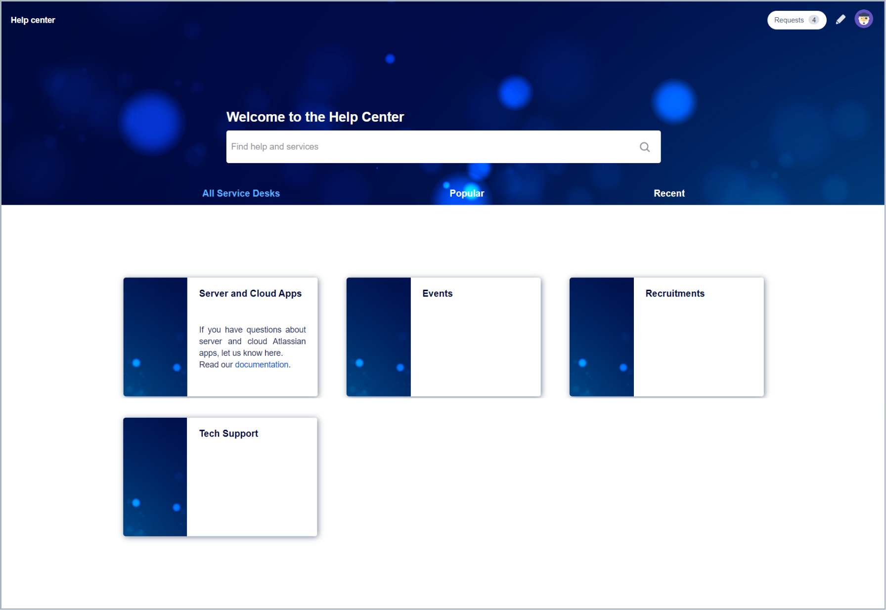Result of adding a portal description with Theme Extension for Jira Service Management