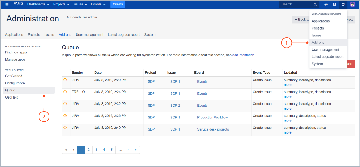 Go to queue with Trello Sync for Jira